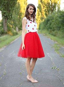 Sukne - Tylová sukňa červená midi - 7112281_
