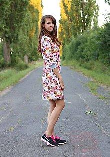 Šaty - Šaty teplákové s kvetmi - 7112373_