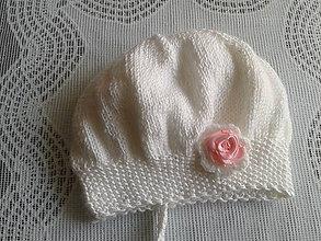 Detské čiapky - Čiapočka - nežná ružička - 7111272_