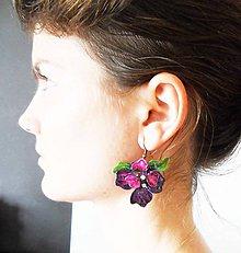 Náušnice - violet náušnice - 7110321_