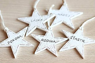 Dekorácie - Sada vianočných hviezdičiek (5ks) - 7110221_