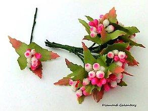 Galantéria - Ozdobné dekoračné bobuľky - bieloružové tmavšie - 7112149_