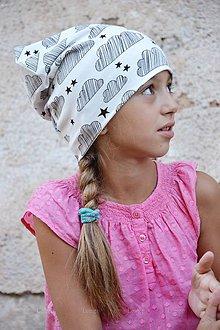 Detské čiapky - Bavlnená čiapka obláčik & hviezdička - 7113453_