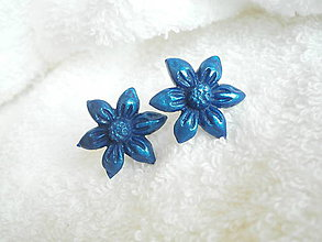 Náušnice - Náušnice z polyméru, malé modré - 7110101_