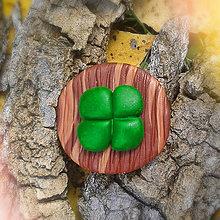 Odznaky/Brošne - FIMO drevené brošne - prírodné motívy (štvorlístok NA ZÁKAZKU) - 7110443_