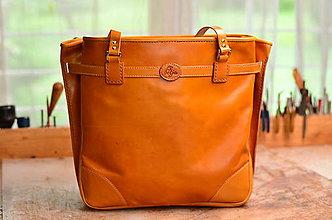 Veľké tašky - Veľká kožená taška na rameno \