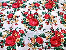 Textil - Krojová látka - červené kvety veľké na bielom podklade - cena za 10 cm - 7116995_
