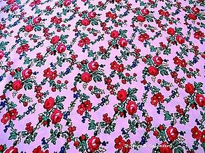 Textil - Krojová látka - červené kvety na ružovom podklade - cena za 10 cm - 7116908_