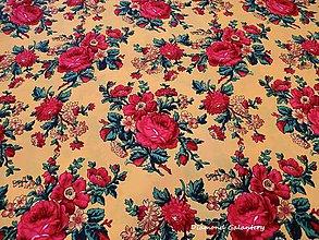 Textil - Krojová látka - červené kvety veľké na žltom podklade - cena za 10 cm - 7116917_