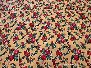 Textil - Krojová látka - červené kvety malé na žltom podklade - cena za 10 cm - 7116926_