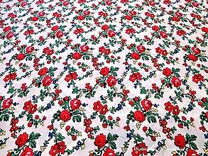 Textil - Krojová látka - červené kvety malé na bielom podklade - cena za 10 cm - 7117023_