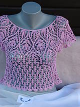 Topy, tričká, tielka - Háčkovaný top pre slečny - 7117360_