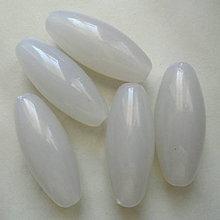 Korálky - SUNNY plast oliva 13x32mm-béž.biela-1ks - 7115300_