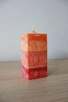 Svietidlá a sviečky - Sviečka zo 100% palmového vosku - Hranol červený pomaranč - 7115513_