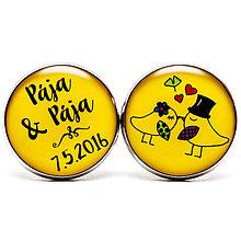 Šperky - Svadobné manžetky s holubičkami v žltej - 7115320_