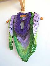 Šatky - Dúhová fialovo-zelená háčkovaná šatka - 7116655_