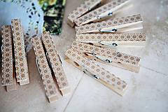 Dekorácie - Ozdobné štipce na svadbu - zlaté - 7118196_