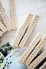 Dekorácie - Ozdobné štipce na svadbu - zlaté - 7118199_