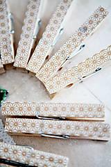 Dekorácie - Ozdobné štipce na svadbu - zlaté - 7118200_