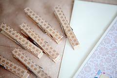 Dekorácie - Ozdobné štipce na svadbu - zlaté - 7118201_