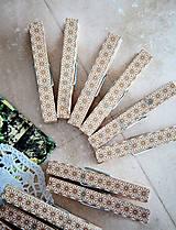 Dekorácie - Ozdobné štipce na svadbu - zlaté - 7118202_