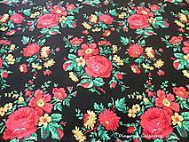 Textil - Krojová látka - kvietky veľké na čiernom podklade - cena za 10 cm - 7119653_