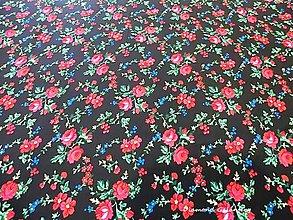 Textil - Krojová látka - kvietky malé na čiernom podklade - cena za 10 cm - 7119651_