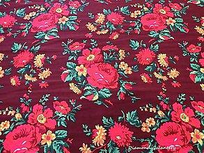 Textil - Krojová látka - kvietky veľké na vínovom podklade - cena za 10 cm - 7119754_