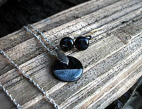 Sady šperkov - ...MRAMOR... sada náhrdelník, napichovačky v čiernej - 7119775_