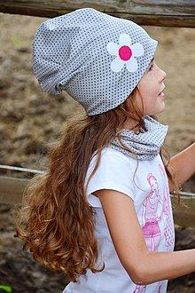 Detské čiapky - Čiapka gray dots & flower - 7118143_