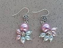 Náušnice - Pastelové perličkové kvetinky - 7118886_