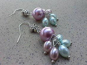 Náušnice - Pastelové perličkové kvetinky - 7118885_