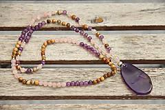 - Náhrdelník z minerálov achát, ruženín, jaspis - 7118442_