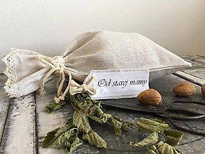 Úžitkový textil - Ľanové vrecko na chlieb bylinky OD STAREJ MAMY 30x45 - 7119809_