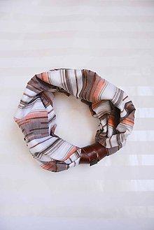 Šatky - _TuNNeL... Casual & Stripes... & Koža... HnedoBiela - 7123352_