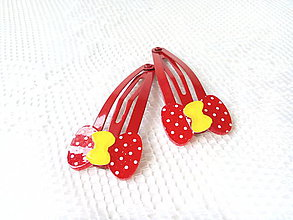 Ozdoby do vlasov - Pin Up hair clips (bows/dots) - 7121627_