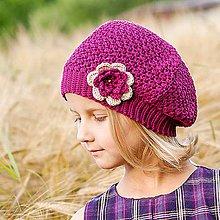 Detské čiapky - Bordová baretka s kvetom - 7122984_