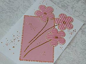 Papiernictvo - Pohľadnica-Ružové kvietky - 7121747_