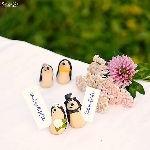 Darčeky pre svadobných hostí, menovky - ježkovia