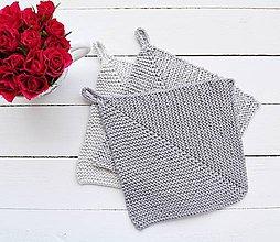 Úžitkový textil - Pletené chňapky - sivé II - 7123985_