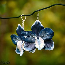 Náušnice - Modrá orchidea - náušnice - 7125893_