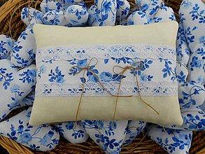 Prstene - Vankúšik na svadobné obrúčky Porcelain Blue - 7124124_