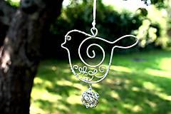 Dekorácie - vtáčik strieborný - 7123645_