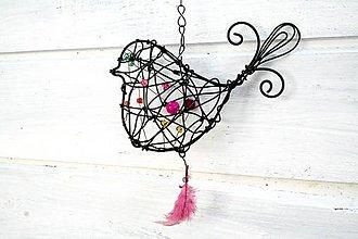 Dekorácie - 3D vtáčik s pierkom - 7123671_