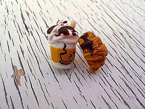 Náušnice - kávička alebo croissantik? - 7125468_