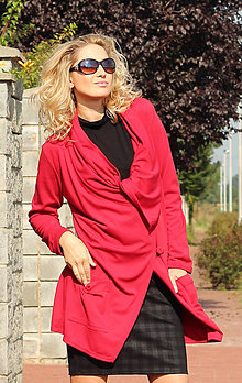 Kabáty - Červený kardigan - 7127537_
