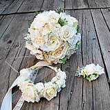 Svadobná sada-kytica, pierko, čelenka v krémovej farbe