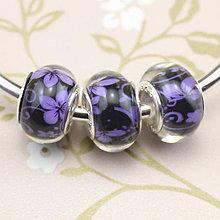 Korálky - Strieborná AG925 korálka na PANDORA náramok zo sklom MURANO - kvety fialové - 7127918_