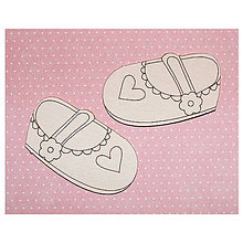 Polotovary - Chipboard Baby girl shoes - 7127904_