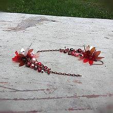 Náušnice - hnedo,červeno,ružové - 7127399_